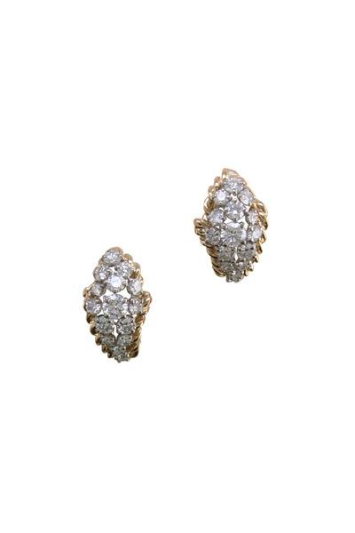 Oscar Heyman - Yellow Gold Platinum Diamond Shrimp Earrings