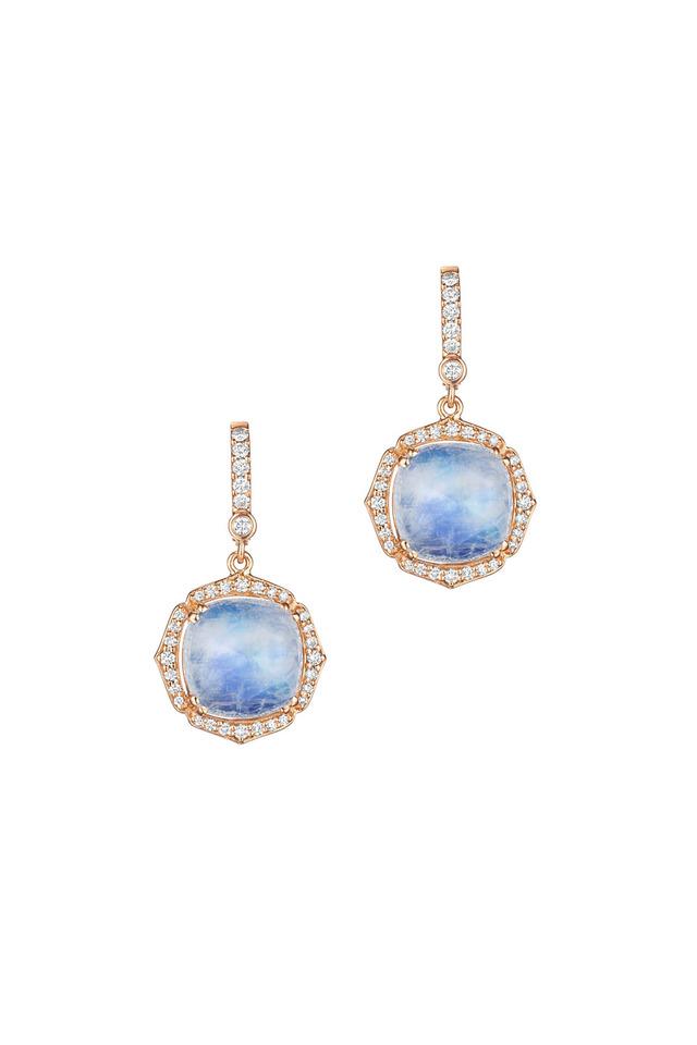Rose Gold Blue Moonstone Diamond Earrings