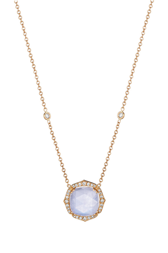 Penny Preville Rose Gold Blue Moonstone Diamond Necklace