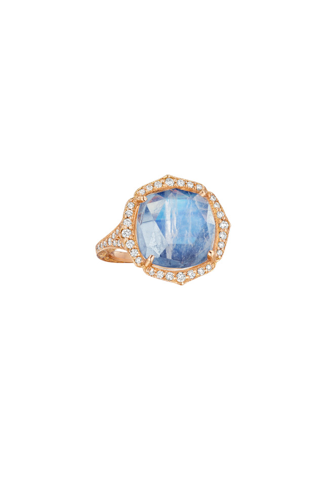 Rose Gold Blue Moonstone Diamond Ring