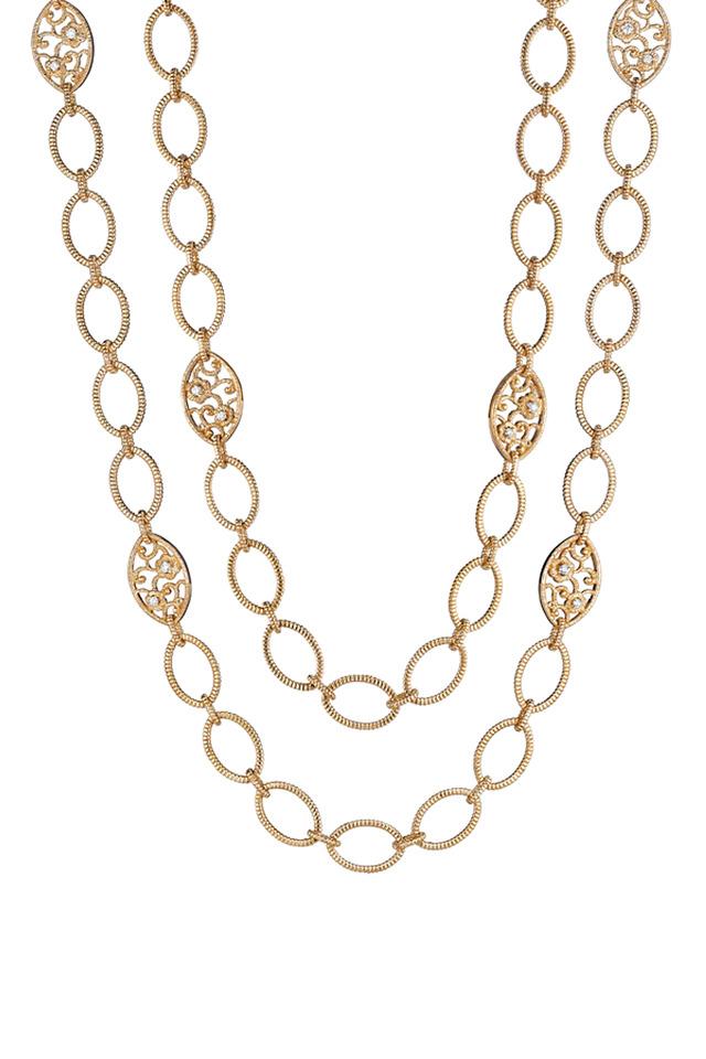 Rose Gold Lace & Link Diamond Necklace