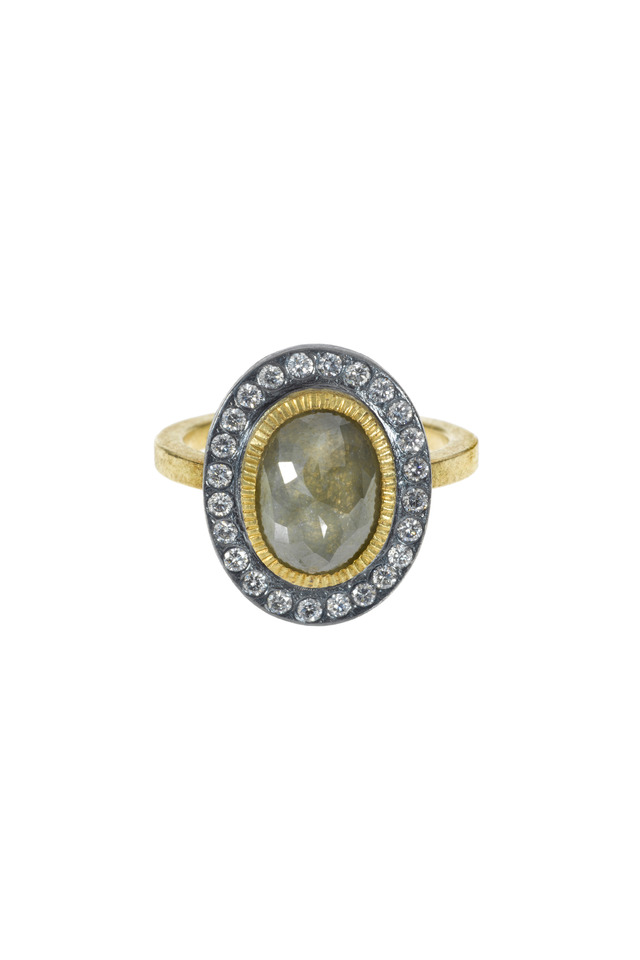 Yellow Gold & Sterling Silver Diamond Ring