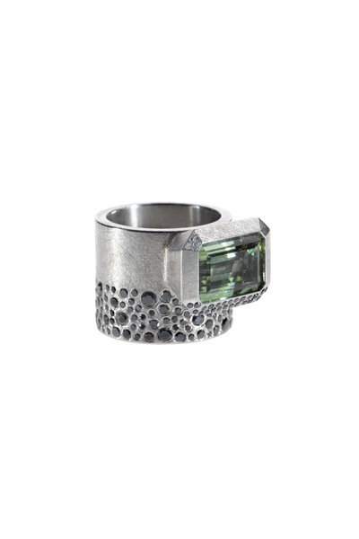 Todd Reed - Palladium Wide Band Tourmaline Black Diamond Ring