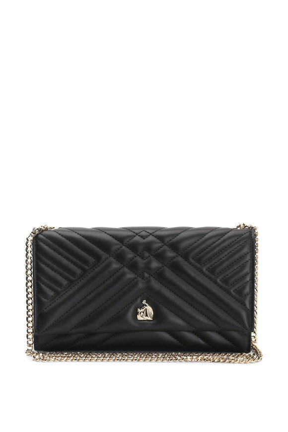 Lanvin Sugar Black Quilted Leather Chain Wallet