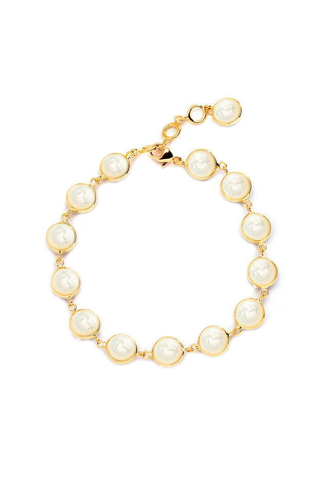 Yellow Gold Mother Of Pearl Chakra Bracelet
