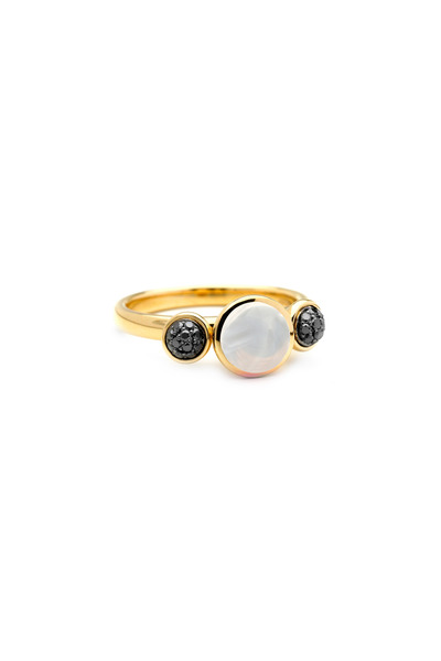 Syna - Yellow Gold Moonstone Quartz Black Diamond Ring