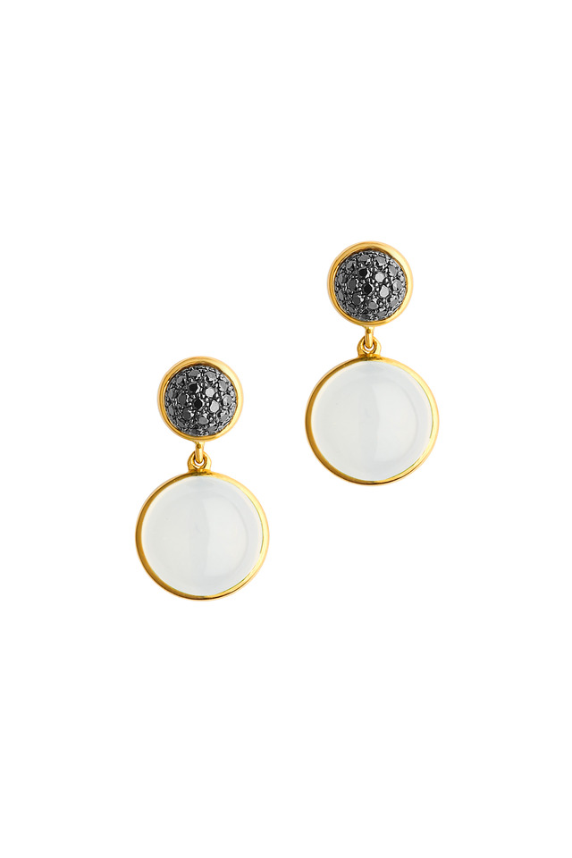 Gold Moonstone Quartz & Black Diamond Earrings