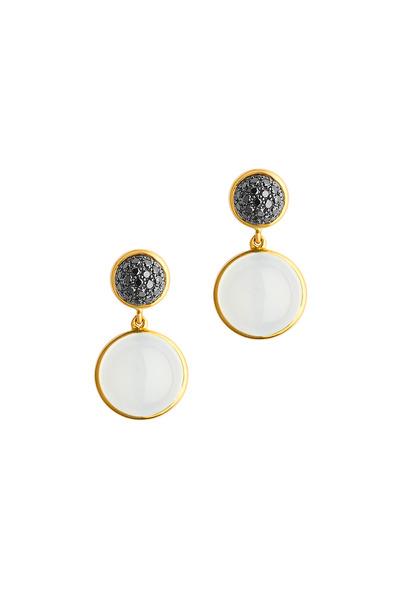 Syna - Gold Moonstone Quartz & Black Diamond Earrings