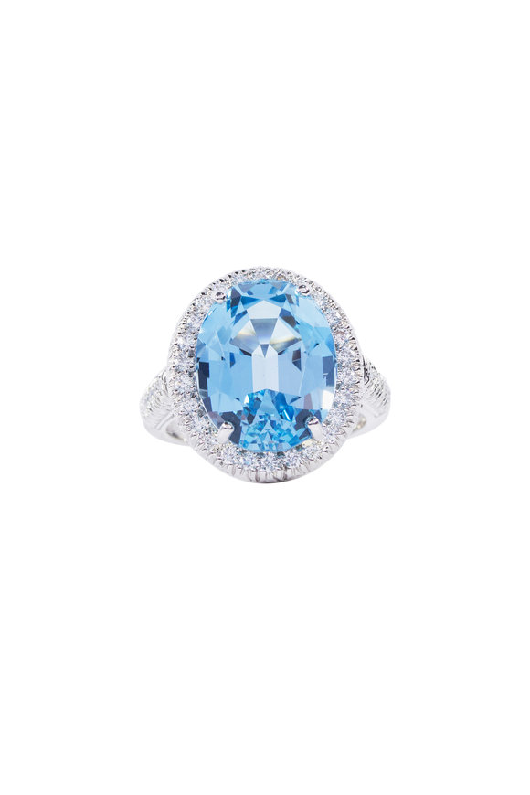 Oscar Heyman Platinum Aquamarine & Diamond Ring