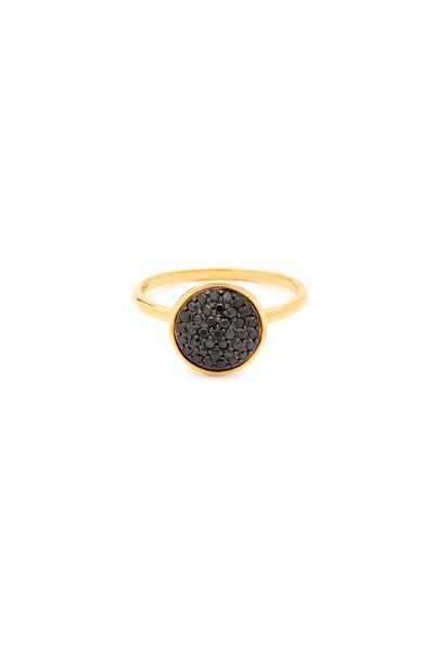Syna - 18K Yellow Gold Black Diamond Chakra Ring