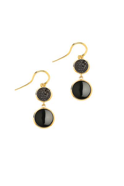 Syna - Yellow Gold Black Onyx & Diamond Chakra Earrings