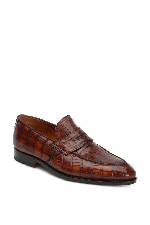 Bontoni Principe Brown Alligator Penny Loafer