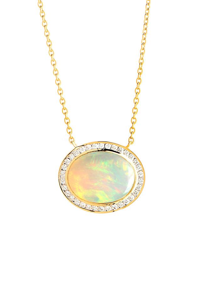 Yellow Gold Opal Diamond Pendant