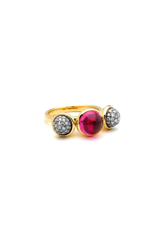 Gold Rhodolite Garnet Champagne Diamond Ring