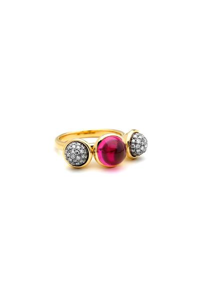 Syna - Gold Rhodolite Garnet Champagne Diamond Ring