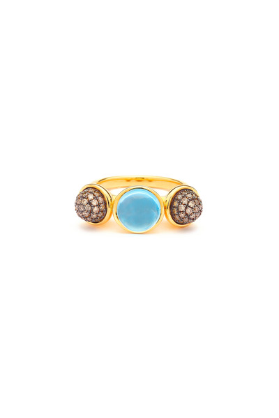 Syna - Baubles Gold Blue Topaz Champagne Diamond Ring