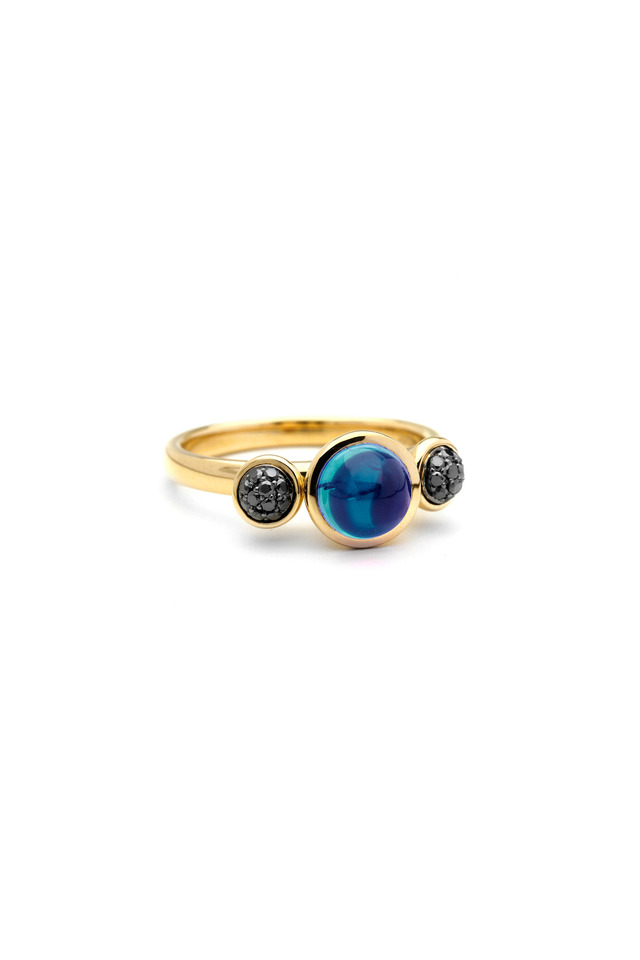 Baubles Yellow Gold Blue Topaz Black Diamond Ring
