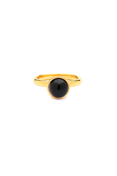 Syna - Baubles Gold Black Onyx Stack Diamond Ring
