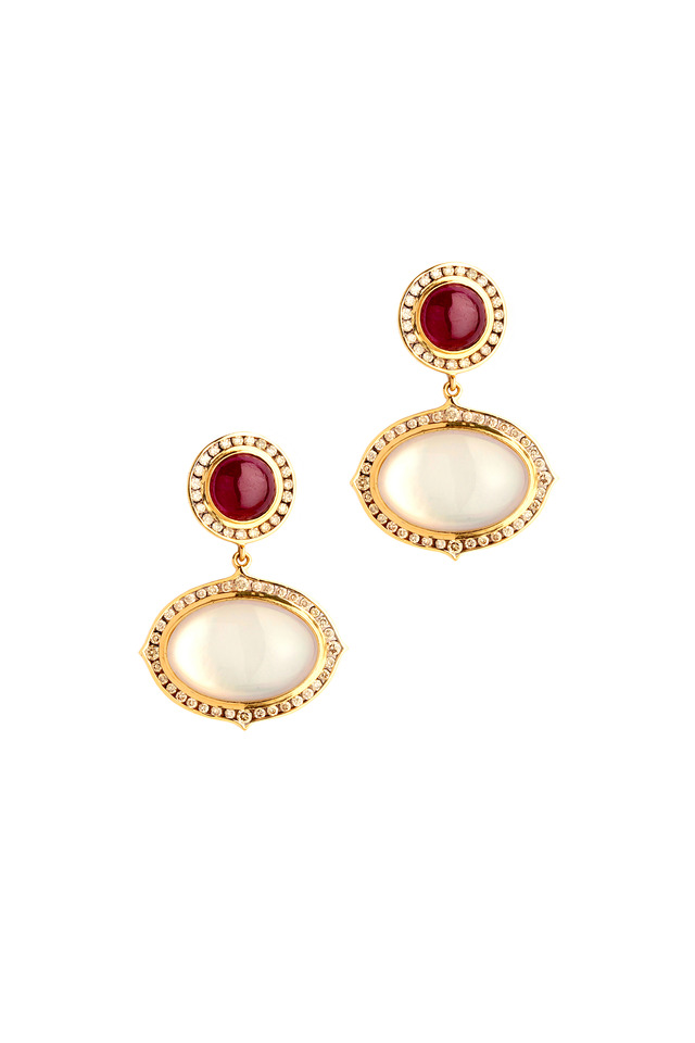 Gold Moonstone Ruby Mother Of Pearl Devi Earrings
