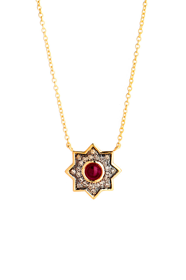 Taara Yellow Gold Ruby Champagne Diamond Necklace