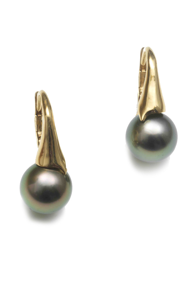 Yellow Gold Round Tahitian Pearl Earrings