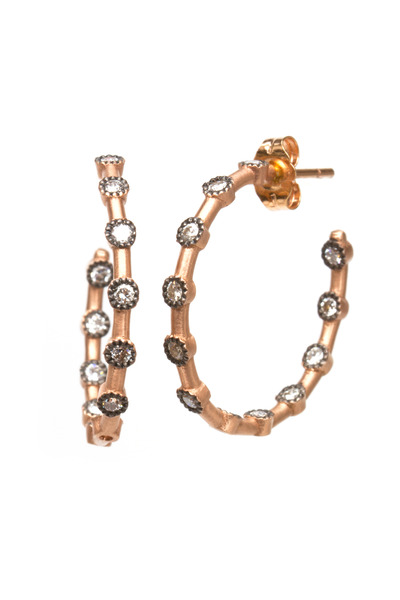 Sylva & Cie - White Gold Diamond Dot Small Hoops