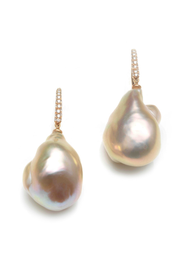 Pink Gold Baroque Pearl Diamond Earrings