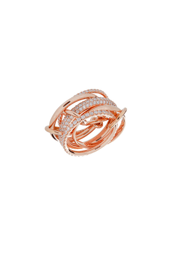 Spinelli Kilcollin 18K Rose Gold Pavé Diamond 5 Link Ring