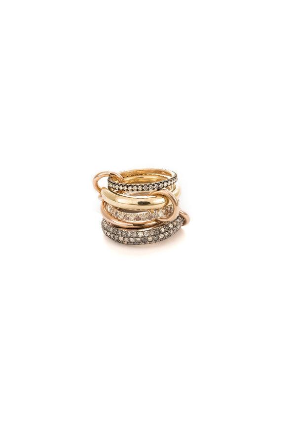 Spinelli Kilcollin 18K Yellow Gold & Black Rhodium Stacked Rings