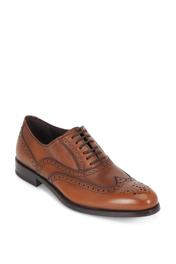 Salvatore Ferragamo Gerard Cognac Burnished Leather Wingtip Oxford