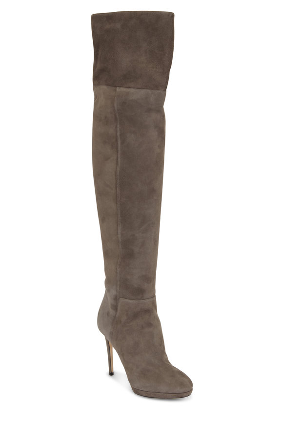 Jimmy Choo Hayley Gray Suede Thigh Boot, 100mm