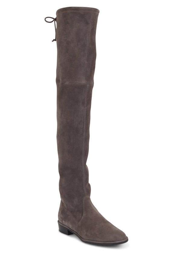 Stuart Weitzman Lowland Gray Stretch Suede Over-The-Knee Boot