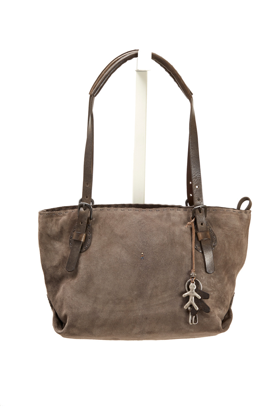 Ebano Brown Suede Small Zip Tote