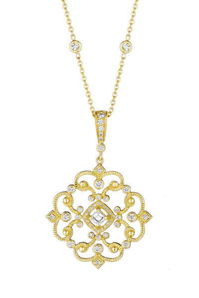 Penny Preville - Yellow Gold Antique Open Scroll Enhancer with Diamond Bale