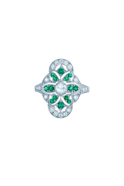Kwiat - 18K White Gold Emerald & Diamond Vintage Ring