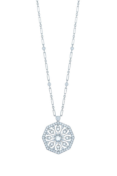 Kwiat - 18K White Gold Diamond Vintage Pendant Necklace