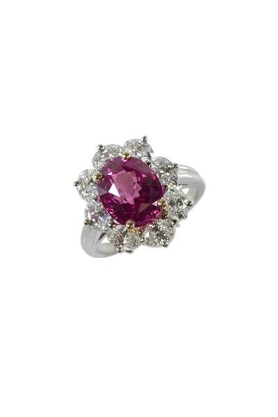 Oscar Heyman - Platinum Pink Sapphire & Diamond Ring