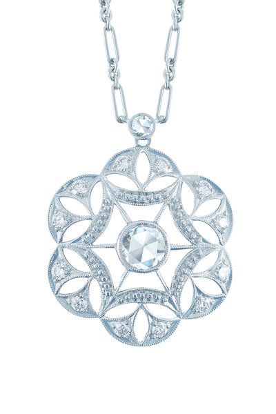 Kwiat - 18K White Gold Diamond Vintage Pendant Necklace
