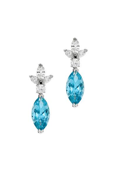 Oscar Heyman - Platinum Aquamarine & Diamond Drop Earrings