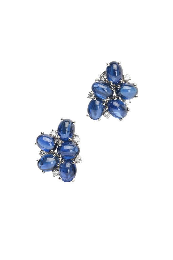 Oscar Heyman Platinum Sapphire & Diamond Earrings