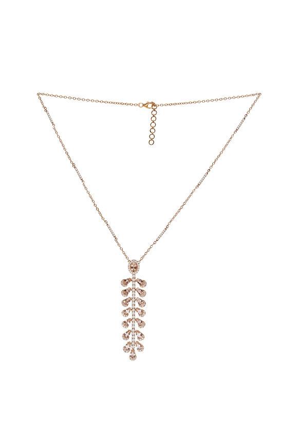 Sutra 18K Rose Gold Morganite & Diamond Pendant Necklace