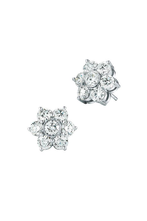 Oscar Heyman Platinum Diamond Flower Studs