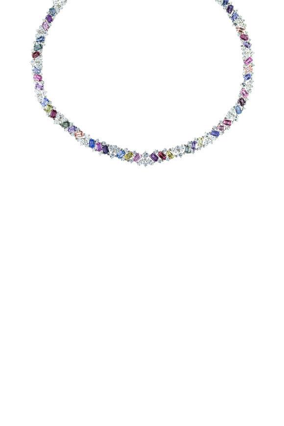 Oscar Heyman Platinum Mixed Sapphire & Diamond Necklace