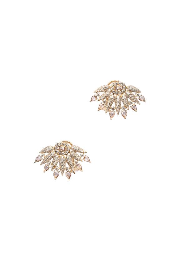 Sutra 18K Yellow Gold Diamond Spike Earrings