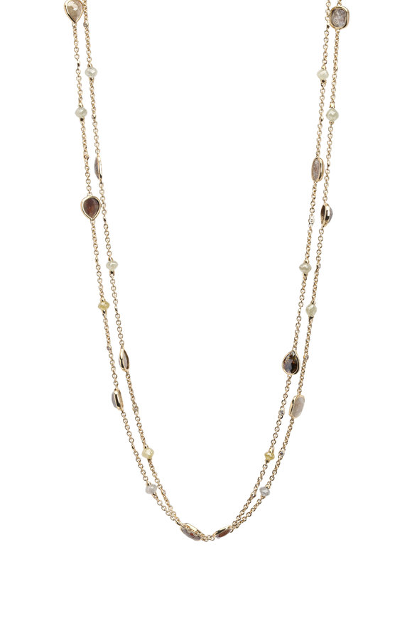 Sutra Yellow Gold Rough Diamond Bead Necklace