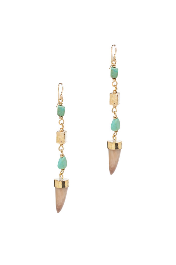 Ashley Pittman Uti Light Horn Turquoise & Bronze Drop Earrings
