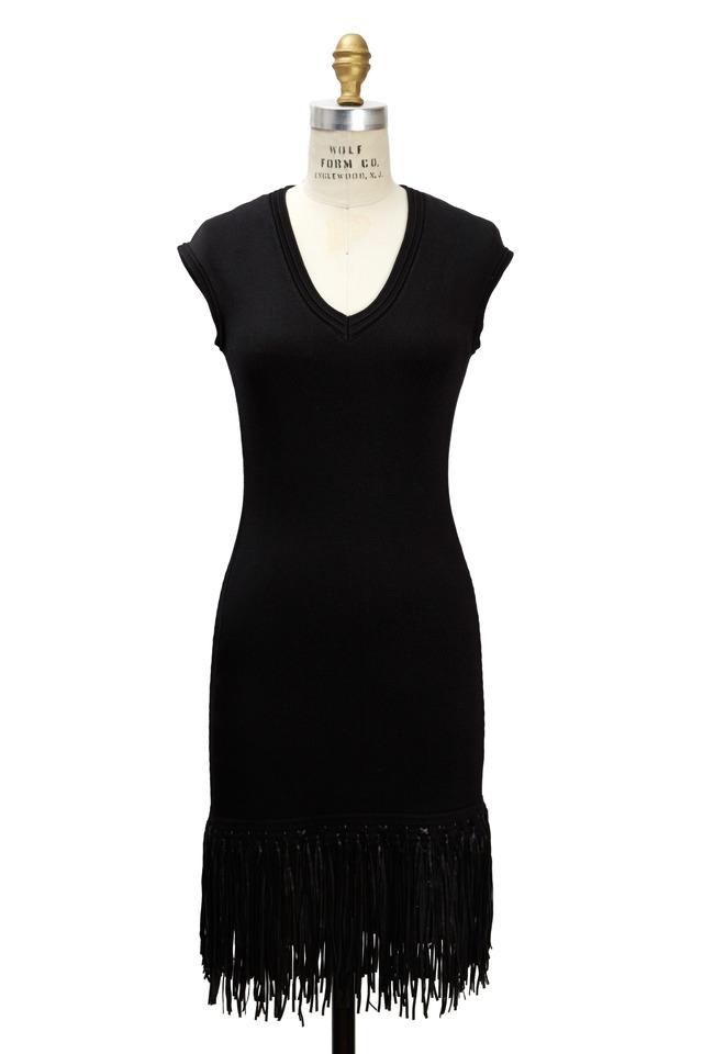 Black Silk Leather Fringe Dress