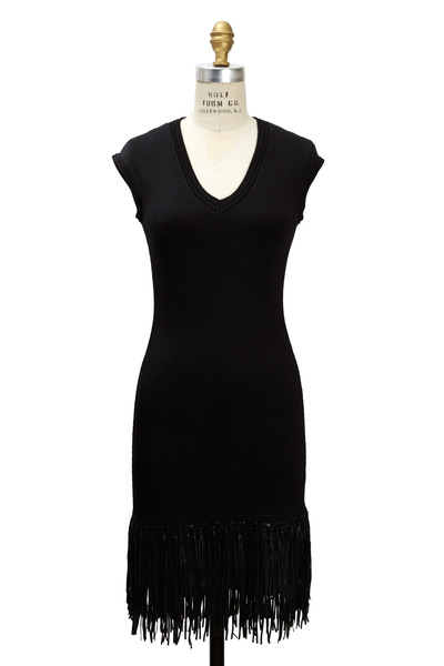 Ralph Lauren - Black Silk Leather Fringe Dress
