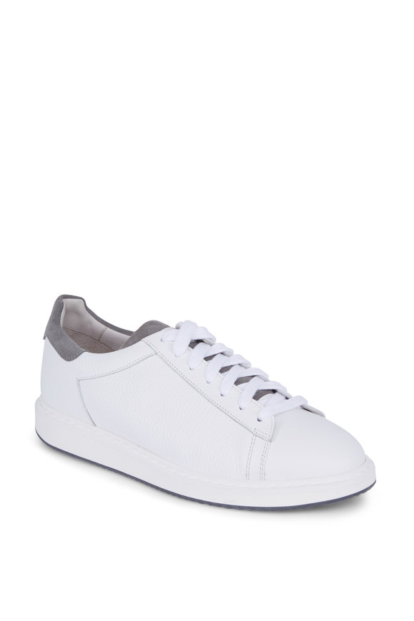 Brunello Cucinelli White Grained Leather Lace-Up Sneaker