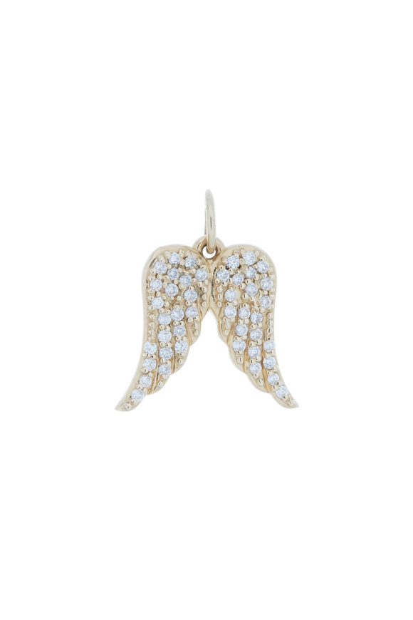 Emily & Ashley 14K Yellow Gold Diamond Angel Wing Charm
